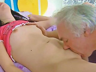 Old Despicable Fatso Fucks A Cute Brunette Teen With Consent
