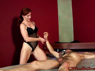 Lingerie-clad Cougar With A Hot Body Torturing A Young Guy