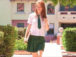 Naughty Redhead In Her Schoolgirl Uniform Fingers In Public