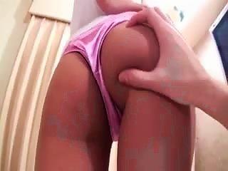 A Japanese  In Pink Satin Panties