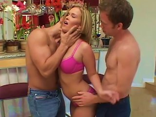 Nasty Blonde Dealing With Two Cocks