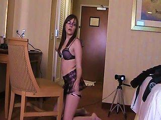 Wild Brunette Nerd Justine Solo Kinky Action