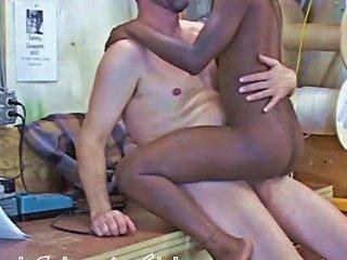 Tiny Black Girl Rides Big White Cock Then Twerks In His Cum