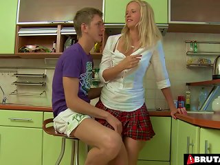 Russia Schoolgirl Getting Her Tight Asshole Stuffed In The Kitchen