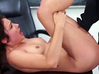 Petite Feels Cock Slamming Her Wte Vag While In Class