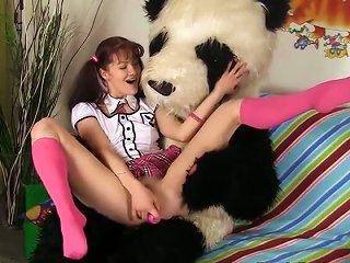 Naughty Schoolgirl Fucked With Huge Dildo