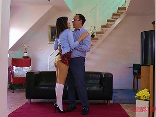 After Class A Dirty Coed Wears Her School Uniform While Fucking