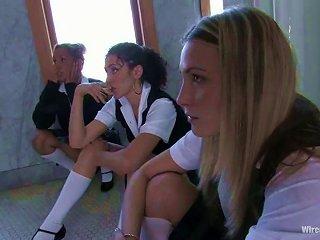 Cute Babes In School Uniform Make Great Femdom Show