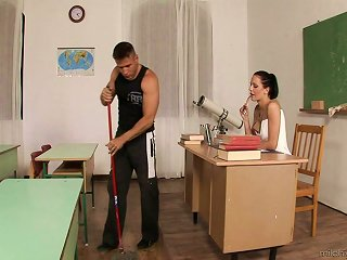 Janitor Gets Lucky And Fucks The Hottest Teacher In The School