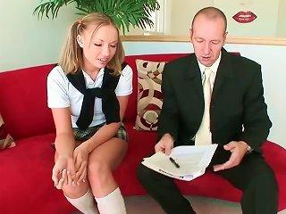 Schoolgirl And Her Teacher's Fat Cock