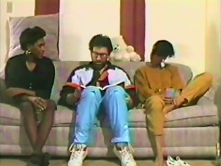 Old School Interracial Threesome With Two Ebony Chicks