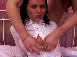 Lustful Brunette School Girl Taking A Cock In Her Cunt And Butthole
